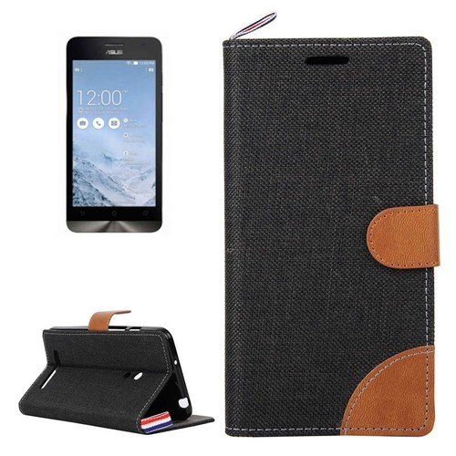 52 Denim Texture Horizontal Flip Leather Case For Asus Zenfone 5 A500cg A501cg A500kl A502cgBlack