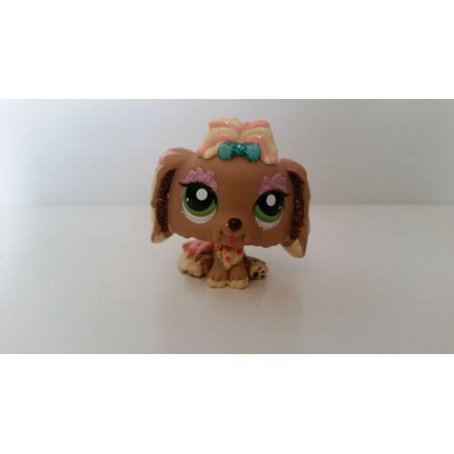 Littlest petshop chien paillettes marron yeux vert lps pet - Chien pet shop ...