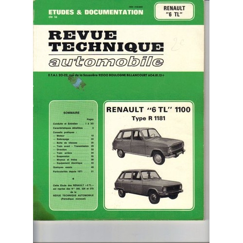 renault 6 tl 1100 de revue technique automobile. Black Bedroom Furniture Sets. Home Design Ideas