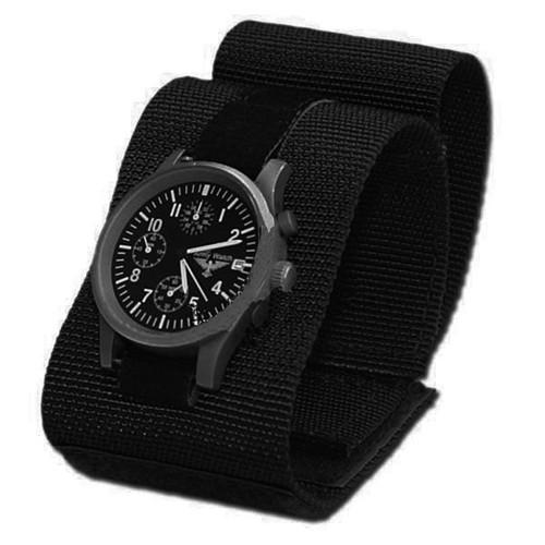 bracelet de montre commando a scratch en tissu souple leger noir 259112 airsoft militaire. Black Bedroom Furniture Sets. Home Design Ideas
