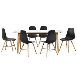En.Casa] Table À Manger Blanc Avec 6 Chaises Noir 180x80 Table De ...