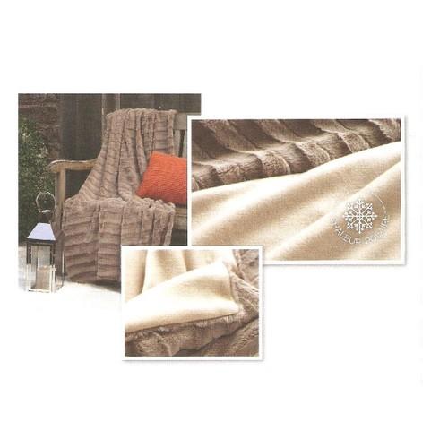 plaid neuf et emball jet e de canap lit type couverture polaire fausse fourrure coloris taupe. Black Bedroom Furniture Sets. Home Design Ideas