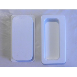 poign e cuvette normbau encastrer 100x52 pvc blanc pour porte coulissante tiroir encastr. Black Bedroom Furniture Sets. Home Design Ideas