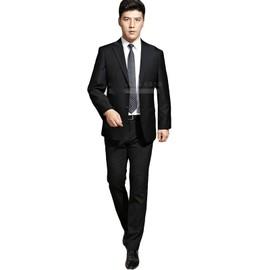 vestes pantalon noir costume homme suit hommes d 39 affaires mode single fente collier plat. Black Bedroom Furniture Sets. Home Design Ideas