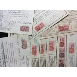 10 quittances de loyer avec 10 timbres fiscaux, de 1936 à 1943 - France - 10 quittances de loyer avec 10 timbres fiscaux, de 1936 à 1943 - France
