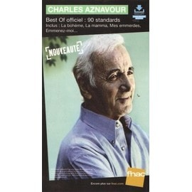 rare PLV cartonnée rigide 14x25cm CHARLES AZNAVOUR best of officiel 90 ans standards / magasins FNAC