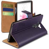 Caseink - Housse Etui Portefeuille Folio Stand Lg G3 Cuir Eco Executive Violet + Film Hd