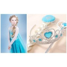 D�guisement Robe Elsa + Couronne Baguette Cheveux Pour Enfant Costume La Reine Des Neiges Look Princesse