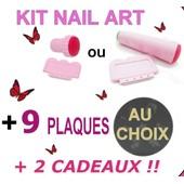 Kit De Stamping Nail Art Ongle : Tampon Simple Double + Raclette + 9 Plaques De Motifs / Manucure