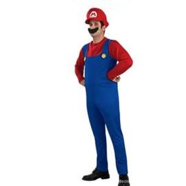 Ensemble D�guisement Super Mario, Lot : Casquette Rouge + Salopette Bleu + T-Shirt Rouge + Moustache Noire, Tailles 36 � 44, Utilisable Pour Les Soir�es, F�tes D�guis�es Etc...