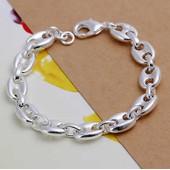 Bracelet Gourmette Grain De Caf�/Chaine D'ancre 20cm Pour Homme Argent Plaqu�