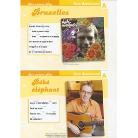 lot de 2 fiches chansons atlas DICK ANNEGARN : bruxelles et bébé éléphant