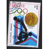 Belize 1980 Oblit�r� Rond Used Stamp Jeux Olympiques Lake Placid Ski Alpin M�daille Or Autriche