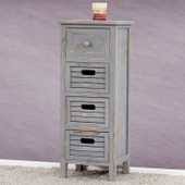 Commode / Table D'appoint / Armoire, 4 Tiroirs, 30x25x74cm, Shabby, Vintage, Gris