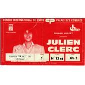 Julien Clerc - Ticket Du Concert Au Palais Des Congr�s De Paris, Samedi 14 Octobre 1978