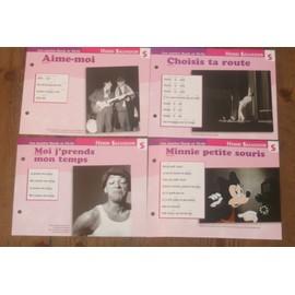 lot de 4 fiches chansons atlas HENRI SALVADOR : Minnie petite souris , moi j'prends mon temps , choisis ta route et aime moi