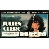 Julien Clerc - Ticket-Billet Du Concert Au Palais Des Congr�s De Paris, Mercredi 5 Novembre 1980.