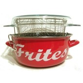 Friteuse Emaill�e 26 Cm Rouge Inscription Frites * - 800732
