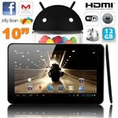 Tablette tactile 10 pouces Android 4.4 KitKat Quad Core 12 Go Noir