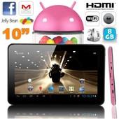 Tablette tactile 10 pouces Android 4.4 KitKat Quad Core 8 Go Rose