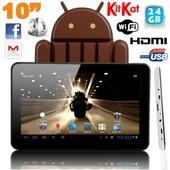 Tablette tactile 10 pouces Android 4.4 KitKat Quad Core 24 Go Blanc