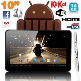 Tablette tactile 10 pouces Android 4.4 KitKat Quad Core 16 Go Blanc