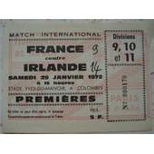 Ticket France Irlande 1972 En Rugby