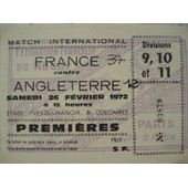 Ticket Rugby France Angleterre 1972.