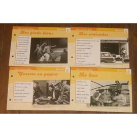 lot de 4 fiches chansons atlas CARLOS : cocotte en papier , le bus , les pieds bleus et les croisades