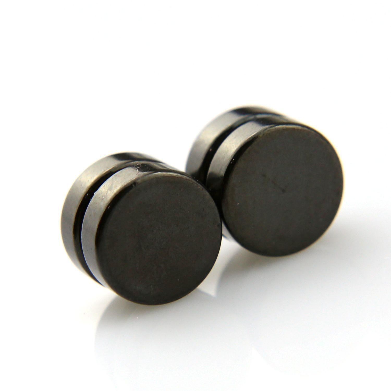 Boucles D'oreilles Puces � Aimant Faux �carteurs Noirs Aimant�s Magn�tiques Pour Oreilles Non Perc�es Homme/Femme 6 8 10mm