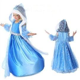 Super D�guisement Enfant Costume Robe Elsa La Reine Des Neiges + Gilet Long � Grande Capuche Motif Flocon Pour F�te Anniversaire Soir�e Cadeaux Envoie Imm�diate Bonne Qualit�