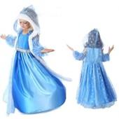 D�guisement Enfant Costume Robe Elsa La Reine Des Neiges + Gilet Long � Grande Capuche Motif Flocon Pour F�te Anniversaire Soir�e Cadeaux