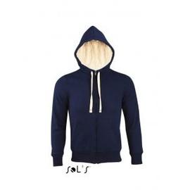 Sweat Shirt Capuche Zipp� Doubl� Fourrure Sherpa Unisexe - 00584 - Bleu Marine
