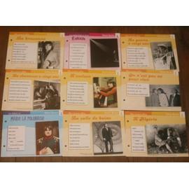 lot de 9 fiches chansons atlas SERGE LAMA : l'Algérie , Marie la polonaise , la chanteuse a 20 ans , Edith ,la braconne ,la salle de bain , l'esclave , on n'est pas né pour rien , la guerre a 20ans