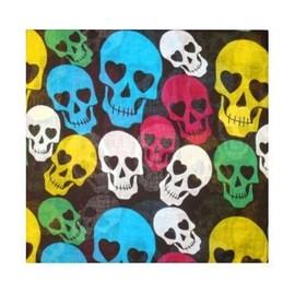Bandana Coton Cranes / Tetes De Mort / Skulls Yeux En Coeur 55 X 55 Cm Foulard Motard Biker Pirate