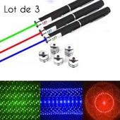 3 Stylos Pointeur Laser 6 en 1 Vert Rouge Bleu/Violet 1mW