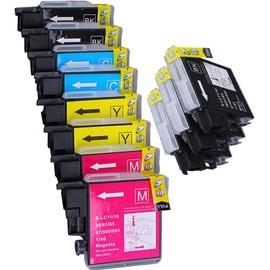 11 X Cartouche D'encre Compatible Brother Lc1100, Lc980, Lc985 Pour Imprimantes Mfc-5890cn, Dcp-385c, Dcp-165c, Dcp-145c, Dcp-163c, Dcp-167c, Dcp-185c, Dcp-195c, Dcp-197c, Dcp-365cn, Dcp-373cw, Dcp