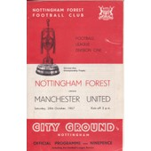 Programme Match Football Nottingham Forest-Manchester United 28th October 1967