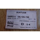 Ticket De Concert Quatuor 1998 Marseille