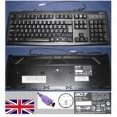 Clavier/Keyboard Qwerty UK Pour KB-2971 KB2971, KB.KBP03.228, KBKBP03228, Port connecteur/ connector PS2, Noir / Black