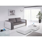 Canap� Convertible Night And Day 3 Places + 2 Poufs Assortis - Gris / Blanc