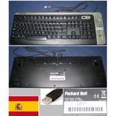 Clavier/Keyboard Qwerty Espagnol / Spanish Pour KU-F0601 KUF0601, 6988280104, Port connecteur/ connector USB, Noir / Black