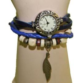 Montre Femme Plume Vintage Bracelet Pu Cuir Et Perles Effet Vieilli Pierre-Cedric !