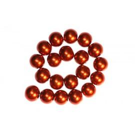 Occasion, 50 x Perle en Verre Nacrée 8mm Orange Brique