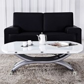Table Basse Relevable Serena Verre Blanc 8 Pers