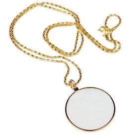 Collier sautoir avec pendentif loupe 5X verre minéral / monocle rétro vintage / bijou de lecture sénior / cosplay