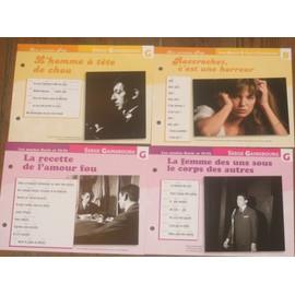 lot de 4 fiches chansons atlas SERGE GAINSBOURG JANE BIRKIN ; la femme des uns sous le corps des autres , la recette de l'amour fou , l'homme à tête de chou , raccrochez c'est une horreur