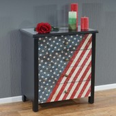 Commode Luton Armoire Table D'appoint Chevet,66x60x33cm, Motif Stars And Stripes