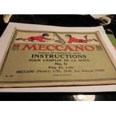 Meccano/Instructions Pour L'emploi Boite N� 0.1923 de MECCANO FRANCE / LTD