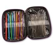 22pcs Aiguilles � Tricoter Crochet En Aluminium / Fer 0,5-6,5mm Avec Housse Organisateur